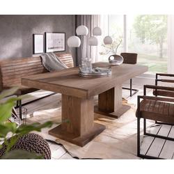 DELIFE Esstisch Indra, Akazie Braun 200x100 cm Massivholz Säulentisch Esstisch braun
