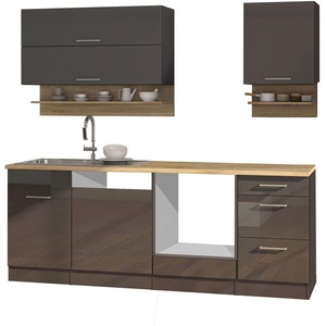 Einbauküche ohne Elektrogeräte Küchenzeile hochglanz grau Küchenblock 220 cm