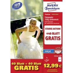 Avery-Zweckform Photo Paper C2552-40P Fotopapier 10 x 15cm 250 g/m² 80 Blatt Seidenmatt