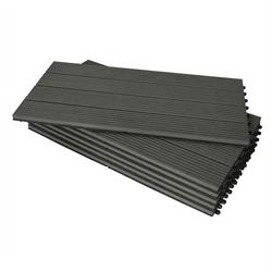 Woltu Terrassenfliesen, 12er-Set WPC Terrassenfliese 30x60cm(6 Stück/1 m) grau