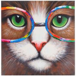 Ölgemälde Hipster Katze, 100% handgemaltes Wandbild 3D-Bild Gemälde XL, 90x90cm