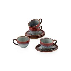 vancasso Kaffeeservice STARRY (8-tlg), Steinzeug, 8tlg. Steinzeug Kaffeeservice rot