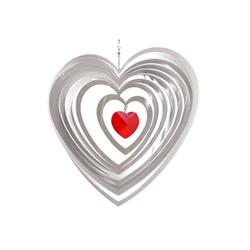 ILLUMINO Windspiel Edelstahl Windspiel Amica-Cor mit 40mm Kristallherz Metall Windspiel für Garten und Wohnung Gartendeko Wohn und Fenster Deko rot