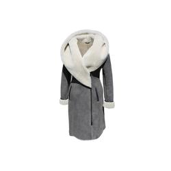 Hollert Winterjacke Damen Winterjacke Mantel Viktoria Merino Lammfell Jacke grau M