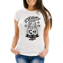 MoonWorks Print-Shirt Damen T-Shirt WM-Shirt WM 2018 Fußball Weltmeisterschaft Russland Matryoshka Matrjoschka Tattoos Moonworks® mit Print weiß XS