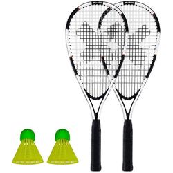 XQMAX Badmintonschläger Speed Badminton Schläger Set, 2 Schläger & 2 Federbälle