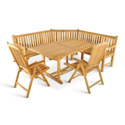 Junado® Gartenmöbelset Kuba, Teakholz Set Auszugstisch mit 2 Hochlehnern und Eckbank