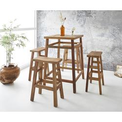 DELIFE Bartisch Dafna, Exotic Wood 110 cm mit 4 Stühlen