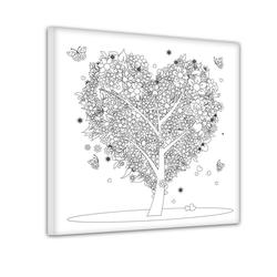 Bilderdepot24 Wandbild, Baum aus Herzen - Ausmalbild 60 cm x 60 cm