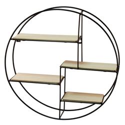 BigDean Wandregal, Hängeregal 40 cm Durchmesser − 4 Holzböden für Dekoration − Auch als Gewürzregal & Setzkasten