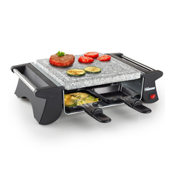 Tristar Raclette, 4 Raclettepfännchen, 500 W, Mini Raclette Gerät für 2-4 Personen, eckiger Tischgrill mit Steinplatte 500 Watt, kleines Raclet Camping geeignet