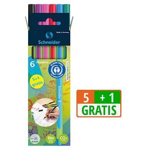 5 + 1 GRATIS: 5 Schneider Line-Up Fineliner farbsortiert 0,4 mm + GRATIS 1 St.
