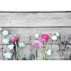 Home affaire Deco-Panel Einzelne Blumen auf Holz, 98/68 cm