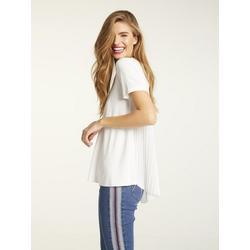 Shirt mit Pliseeeinsatz weiß 46