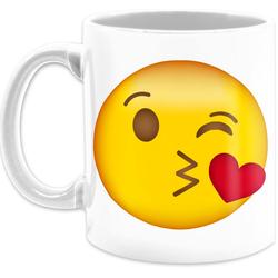 Shirtracer Tasse Emoticon Kuss-Mund - Statement Tasse - Tasse zweifarbig, Keramik