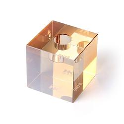 HKliving Kub Kristallglas Kerzenhalter Amber