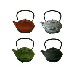 Teekanne aus Guß 1,1 Liter rot mit Untersetzer Teekessel