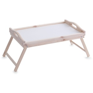 Zeller Betttablett, 50 x 30 x 25 cm, Bettablage mit seitlichen Tragegriffen und klappbaren Beinen, Material: Kiefernholz