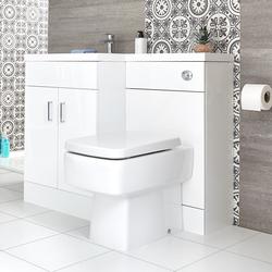 Waschtisch mit Unterschrank Kombi-Set mit Stand Toilette Weiß, Links - Geo, von Hudson Reed