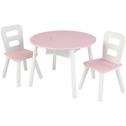 KidKraft® Kindersitzgruppe Runder Aufbewahrungstisch, (3-tlg) rosa