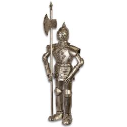 Casa Padrino Mittelalter Ritterrüstung mit Lanze Antik Silber H. 92 cm - Deko Eisen Rüstung