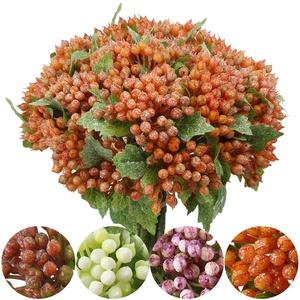 Künstliche Pflanze Beeren Kunstpflanzen Weihnachten Fruchtbeeren Kunstblumen 5 Stiele 30CM für Kranz Handwerk Blumengesteck Dekoration