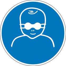Gebotsschild Kleinkinder durch weitgehend lichtundurchlässige Augenabschirmung schützen Folie selb