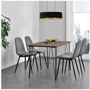en.casa Essgruppe, (5-tlg), Vihti Esstisch mit 4 Stühlen 120x70cm grau