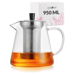 Cosumy Teekanne Teekanne 950 ml mit Filter, 0,95 l, (Teekanne mit Siebeinsatz und Untersetzer), mit Siebeinsatz 950ml inkl. Untersetzer - Spülmaschinenfest - Hitzebeständig