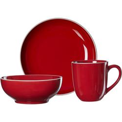 Ritzenhoff & Breker Frühstücks-Geschirrset Linus (3-tlg), Steinzeug rot