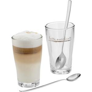 WMF Barista Latte Macchiato Gläser Set 4-teilig, Latte Gläser mit Löffel 264 ml, Latte Macchiato Glas mit Schriftzug, spülmaschinengeeignet