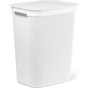 Rotho Brisen Waschesammler 50l mit Deckel und 2 Griffen, Kunststoff (PP) BPA-frei, weiss, 50l (43,1 x 34,0 x 52,9 cm)