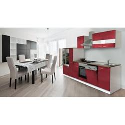 Respekta Küchenzeile KB310WR 310 cm Weiß - Rot