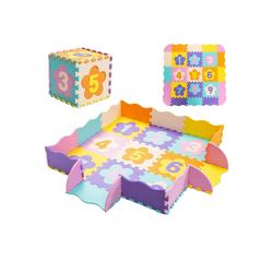 COSTWAY Puzzlematte Puzzlematte, 50 Puzzleteile, 50 Stück mit Zaun, Bodenspielmatte mit abnehmbaren Blumenform- und Zahlenmustern, Kinderteppich, Spielteppich Eva, Krabbelmatte