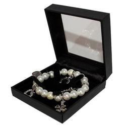 dynamic24 Bettelarmband, Strass Bettelarmband Glücksarmband Perlen Armband Schmuck Silber