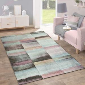 Paco Home Designer Teppich Modern Wohnzimmer Farbverlauf Karo Muster Pastell Grün Gelb Lila, Grösse:200x280 cm