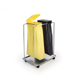 Fahrbarer ständer für 2 säcke 70/120 l, schwarz + gelb 750 x 510 x