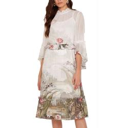 Ted Baker Abendkleid TED BAKER LONDON Ivory Sommer-Kleid knielanges Damen Abend-Kleid gerafften Details Cocktail-Kleid Weiß