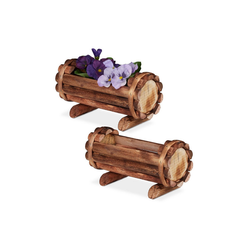 relaxdays Blumenkasten Pflanzengefäß Holz 2er Set