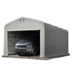 Toolport Zeltgarage 5x8m PVC 550 g/m² grau wasserdicht Garagenzelt