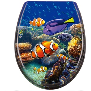 LZQ WC Sitz Toilettendeckel mit Absenkautomatik Toilettensitz Universal Größe Toilettensitz aus Hartplastik Antibakteriell Klodeckel aus Duroplast Unterwasserszene