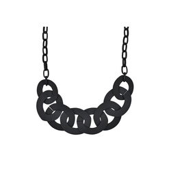 Steuer Collierkette Metallcollier schwarz matt schwarz