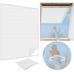 Fliegengitter mit Reißverschluss für Dachfenster, 6 m Klebeband, weiß
