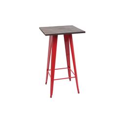MCW Bartisch MCW-A73-Tisch, Industriedesign, Holztischplatte rot