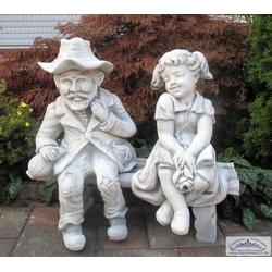 BAD-10118 Kinder Gartenfiguren Heidi mit Alm-Öhi auf Gartenbank als Garten Steinfiguren 71cm 93kg (Farbe: ocker)