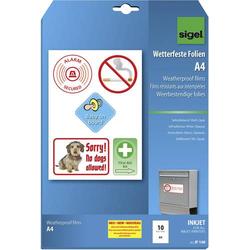 Sigel IF140 Selbstklebefolie DIN A4 Tintenstrahldrucker Weiß, Opak 10St.