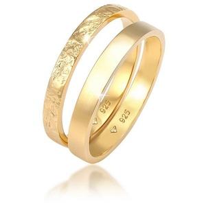Elli Ring-Set Bandring Basic Gehämmert (Set 2-tlg) 925 Silber, Bandring goldfarben 58