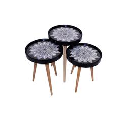 moebel17 Beistelltisch Beistelltisch Sternblumen 3 er Set 3D mit Glas Run