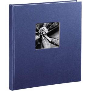 """Hama Fotoalbum """"Fine Art"""" 29 x 32 cm, 50 Seiten (25 Blatt), mit Ausschnitt für Bildeinschub, blau"""