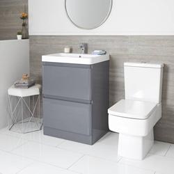 Daxon Set - WC mit aufgesetztem Spülkasten weiß & 600mm Waschtisch mit Unterschrank grau modern